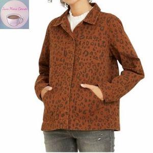 Universal Thread Leopard Denim Chore Jacket Brown